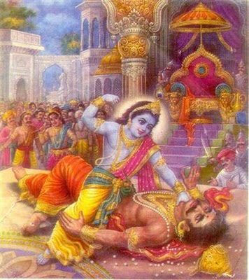 Krishna with kamsan -